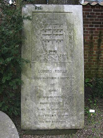 Lorentz Fisker - Lorentz Fisker's gravestone in Holmens Graveyard