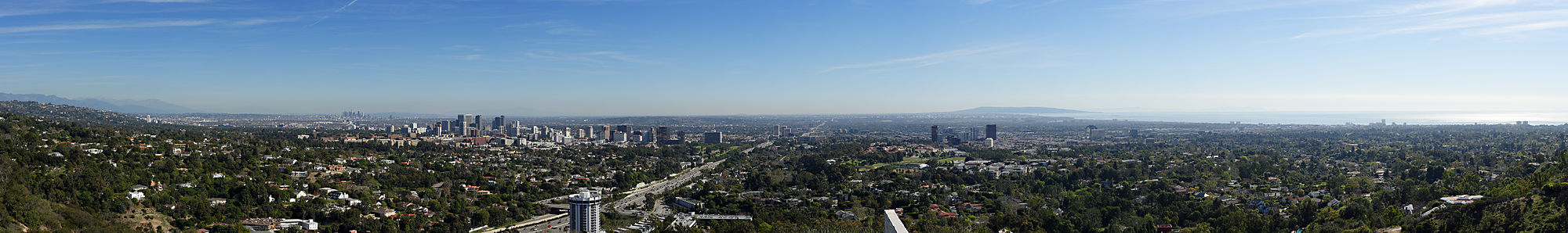 The view from the Getty Center, south of the Sepulveda Pass, looking east, south, and west. The San Diego Freeway can be seen at the center