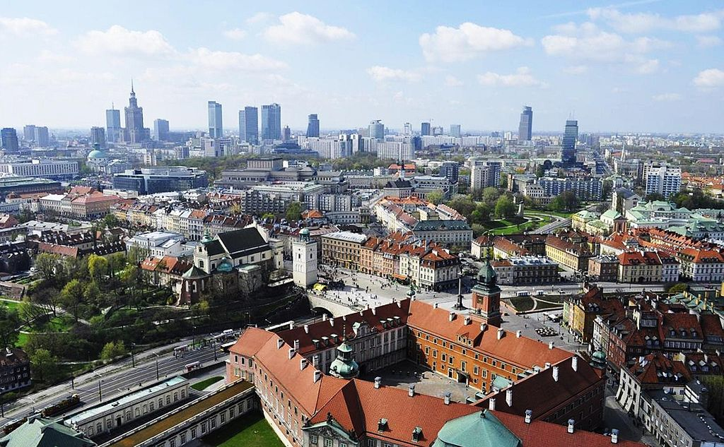 > Vista panoramica del centro di Varsavia. Foto Lemarx.