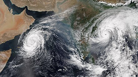 Very Severe Cyclonic Storms Luban (left) and Titli (right) over the Arabian Sea and the Bay of Bengal, respectively, on 10 October 2018. This was the first time that two simultaneous cyclones were active in the Bay of Bengal and the Arabian Sea since reliable records began in 1960. Luban and Titli 2018-10-10 0745Z-0926Z.jpg
