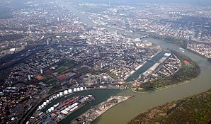 Ludwigshafen - April 2006 aerial view over Ludwigshafen
