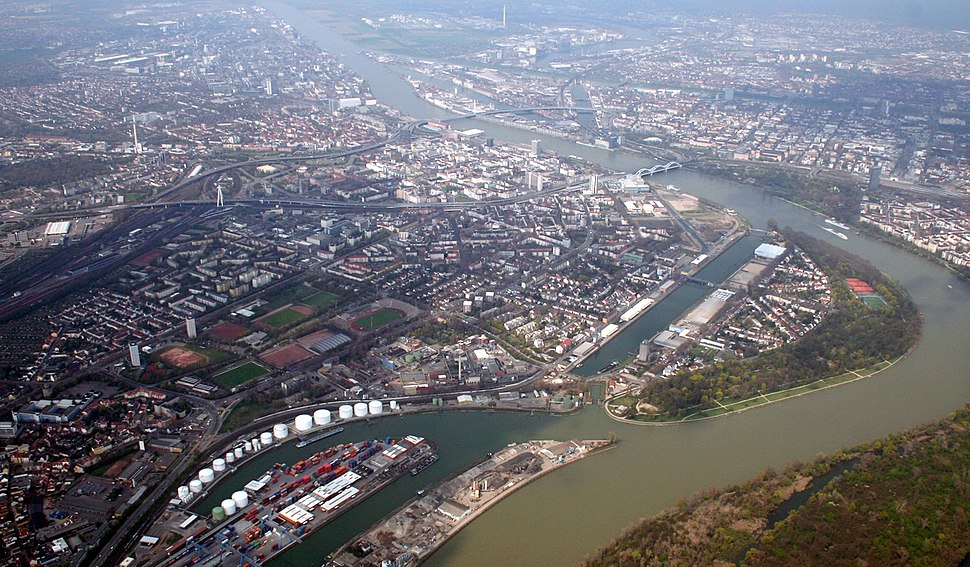April 2006 aerial view over Ludwigshafen