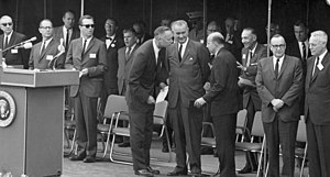 Daniel Aldrich - Aldrich (left) with US president Lyndon B. Johnson (center) at the groundbreaking for the University of California, Irvine in 1964