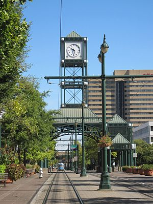 Main Street Line (MATA Trolley) - The Civic Center Plaza station with its clock tower.
