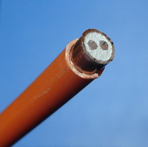 Insulator (electricity) - PVC-sheathed mineral insulated copper cable with 2 conducting cores
