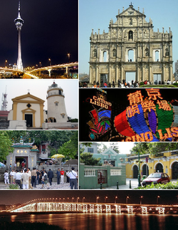 Clockwise from top right: Ruins of St. Paul's; Casino Lisboa; St Joseph Seminary Church; Governor Nobre de Carvalho Bridge; A-Ma Temple; Guia Fortress; Macau Tower.