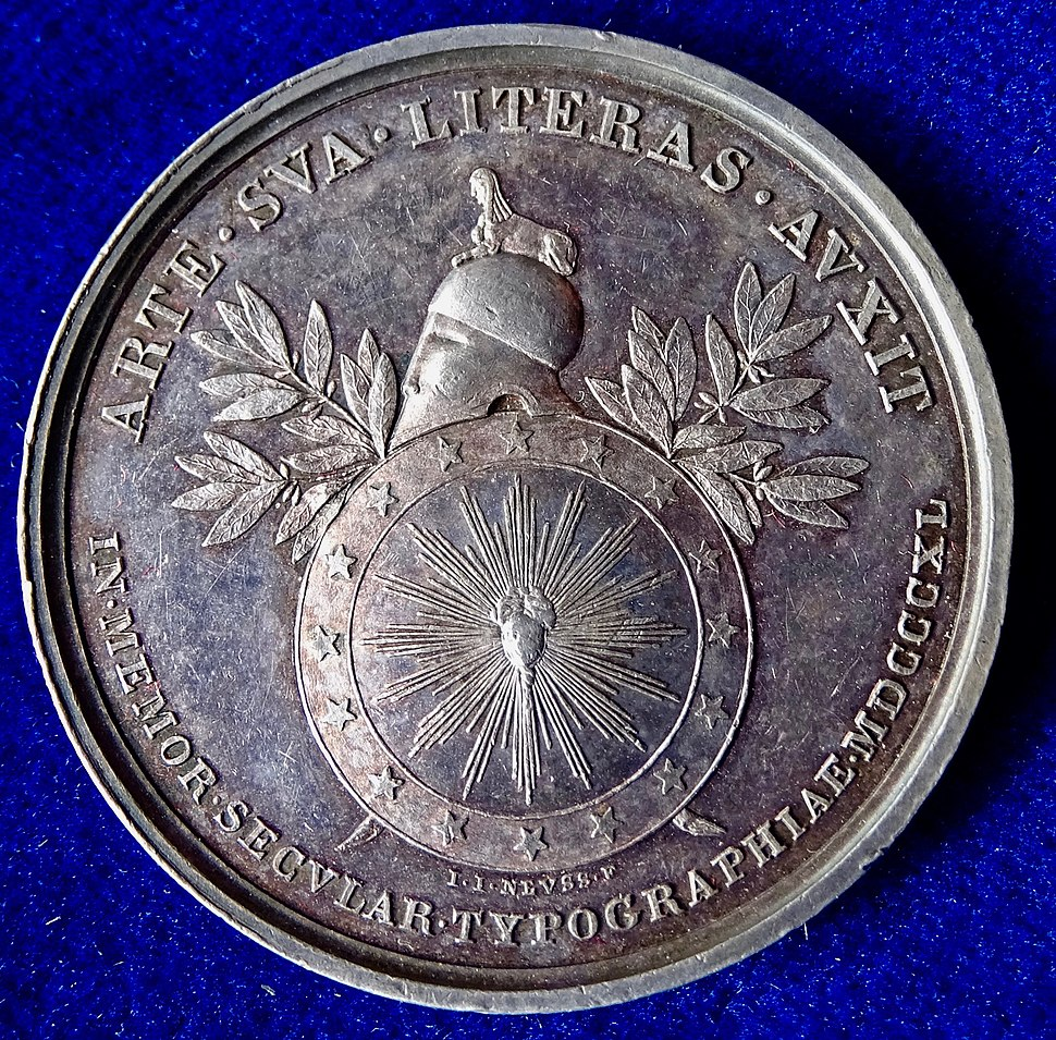 Mainz, Germany, Silver Medal 1840, Gutenberg Printing Press 400th Anniversary, reverse