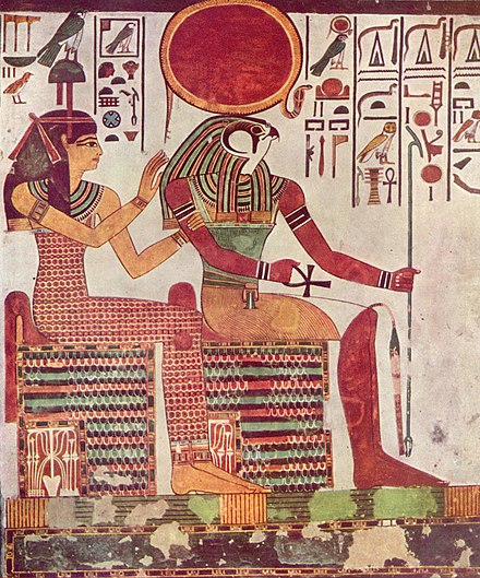 Imentet and Ra from the tomb of Nefertari, 13th century BC Maler der Grabkammer der Nefertari 001.jpg