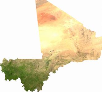 Ebola virus disease in Mali - Satellite image of Mali