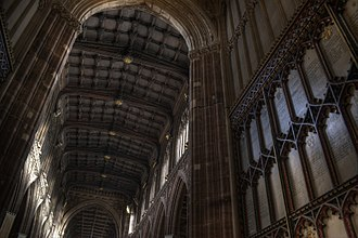 Manchester Cathedral - The nave supported by angel minstrels viewed from the west door