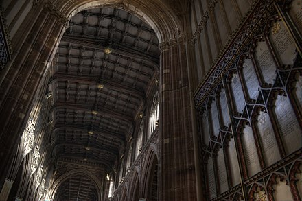 The nave roof supported by angel minstrels viewed from the west door Manchester Cathedral ceiling.jpg