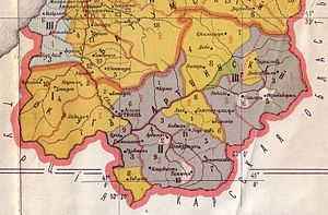 Georgians in Turkey - Ethnographic map of Artvin. Autochthonous Georgians are dark yellow.