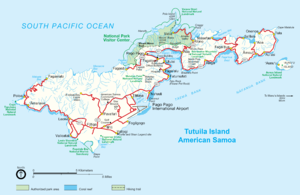 Rainmaker Mountain - Map of Tutuila showing the location of Rainmaker Mountain, just east of Pago Pago Harbor
