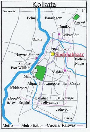 Shobhabazar - Image: Map Kolkata Shobhabazar
