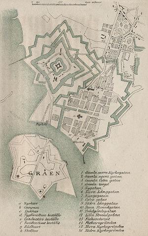 Landskrona Citadel - Landskrona, the Citadel and its moats around 1850