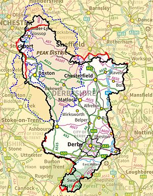 Derbyshire - Map of Derbyshire boundaries with Peak District also shown. Black = modern Geographic boundary, Red = Vice-county boundary (VC57) where this differs from modern; Dotted Blue = Peak District boundary