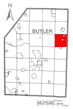 Map of Butler County, Pennsylvania highlighting Fairview Township