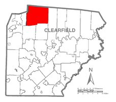 Map of Clearfield County, Pennsylvania highlighting Huston Township