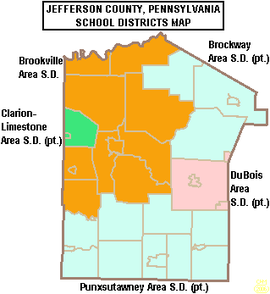 Map of Jefferson County, Pennsylvania Public School Districts