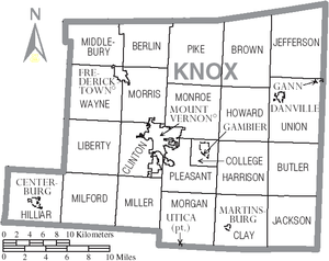 Knox County, Ohio - Map of Knox County, Ohio with Municipal and Township Labels