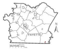 Map of Markleysburg, Fayette County, Pennsylvania Highlighted.png