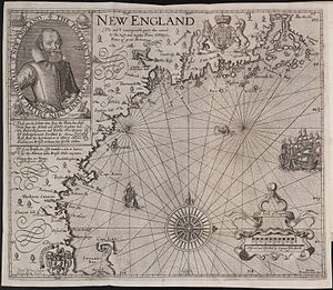 English: Map of New England in 1624 Español: M...