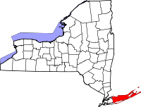 Map of Njujork highlighting Suffolk County