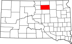 Map of South Dakota highlighting Edmunds County.svg