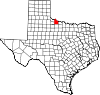 State map highlighting Wilbarger County