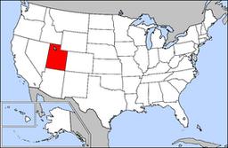 Kort over USA med Utah markeret
