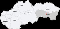 Košices läge i Slovakien.