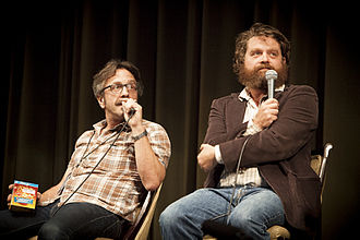 Marc Maron - Marc Maron (left) and Zach Galifianakis (right) participating in a Doug Loves Movies podcast at the 2012 Los Angeles Podcast Festival