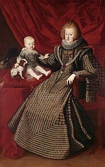 Maria Anna of Austria, Holy Roman Empress with her son Archduke Ferdinand by an unknown artist.jpg