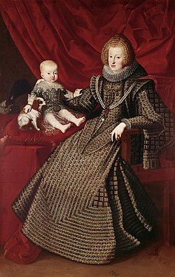 Maria Anna of Austria, Holy Roman Empress with her son Archduke Ferdinand by an unknown artist.jpg