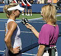 Maria Kirilenko interviewed by Corina Morariu at the 2009 US Open.jpg
