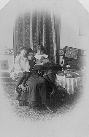 Governess - The daughters of Alexander Graham Bell with their governess, c. 1885.
