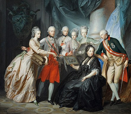 The dowager empress with family, 1776, by Heinrich Fuger Mariatheresiaoldfamily.jpg