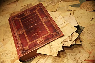 Codex Atlanticus -  The Leonardo da Vinci Codex Atlanticus as it would have been in 1600, with all 1,119 sheets collected by Pompeo Leoni. The book is actually a box.