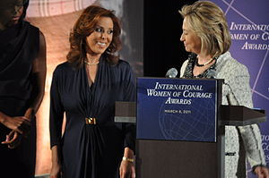 Marisela Morales - Marisela Morales (left of center) at the 2011 International Women of Courage Award with Hillary Clinton (right) and Michelle Obama (left)