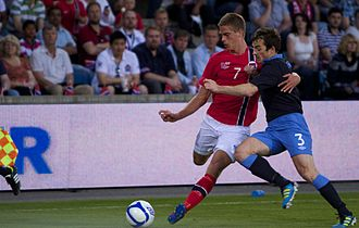Markus Henriksen - Henriksen (left) playing for Norway against England in May 2012