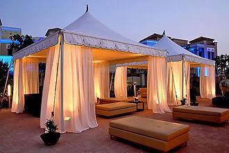 Pop up canopy - Semi-permanent gazebos at a holiday resort.