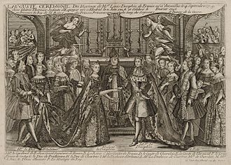 Timeline of French history - Image: Marriage of Louis, Dauphin of France to Marie Thérèse Raphaëlle, Infanta of Spain in 1745 at Versailles