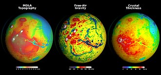 Gravity of Mars - Comparison of topography, free-air gravity anomaly and crustal density map