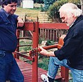 Martyn Wyndham-Read (UK folk musician) with John Bushby, Tasmania, 1995 (Tony Rees photograph).jpg