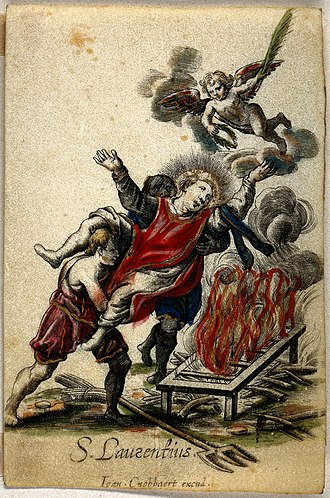 Joannes Cnobbaert - A coloured etching on vellum, depicting the martyrdom of St Laurence, produced by Cnobbaert