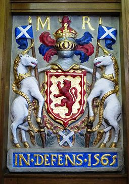 Mary's royal arms from the Tolbooth in Leith (1565), now in South Leith Parish Church Mary, Queen of Scots arms, South Leith Parish Church.JPG