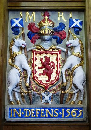 South Leith Parish Church - Queen Mary's royal coat of arms (1565), removed from Leith Tolbooth and built into the church porch