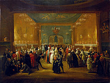 A Masquerade at the King's Theatre, Haymarket (c. 1724) (Source: Wikimedia)