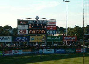 McCoy Stadium - The scoreboard in left field