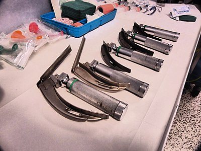 Laryngoscopes prepared in an emergency theatre